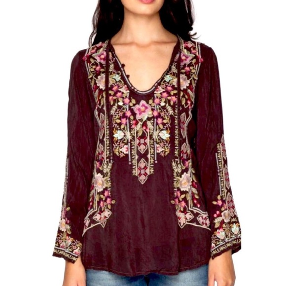 Johnny Was Tops - Johnny Was size Small Dark Coco  Fabio Blouse Top